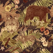 Seamless Watercolor Hand Drawn Pattern With Wolf Head, Bear, Flowers, Leaves, Feathers.