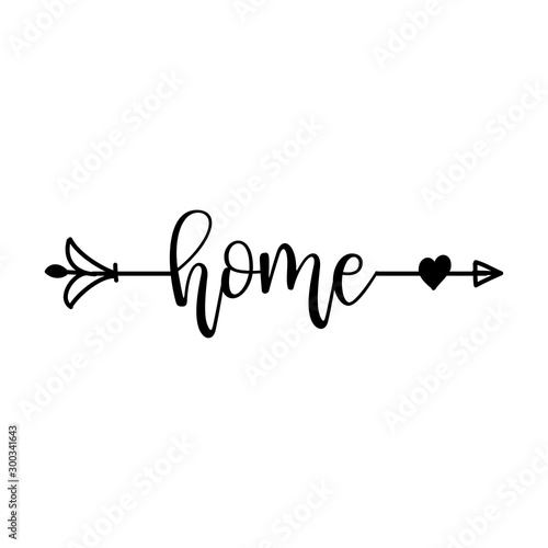 Платно  'home' in boho arrow - lovely lettering calligraphy quote