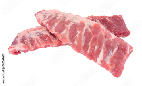 Fotografie, Obraz Racks of fresh raw pork meat ribs isolated on a white background