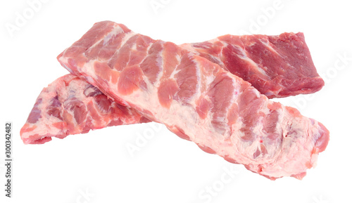 Cuadros en Lienzo Racks of fresh raw pork meat ribs isolated on a white background