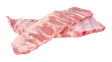 Racks Of Fresh Raw Pork Meat R...