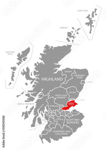 Fototapeta Fife red highlighted in map of Scotland UK
