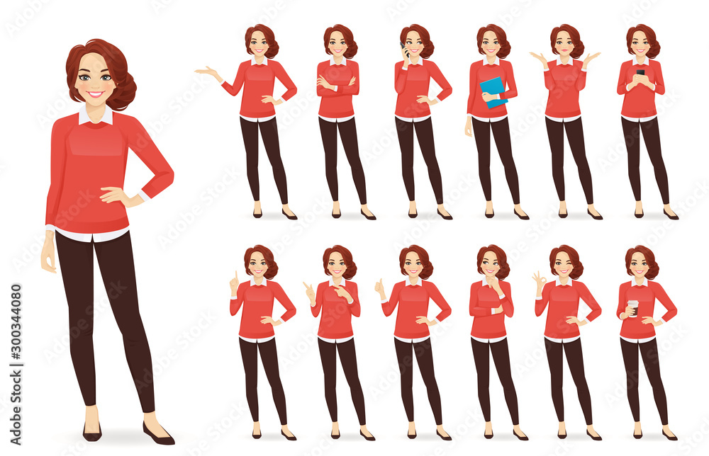 Fototapeta Casual business woman character in different poses set with red hair vector illustration