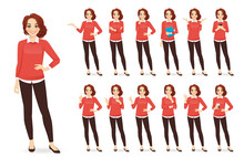 Casual Business Woman Character In Different Poses Set With Red Hair Vector Illustration