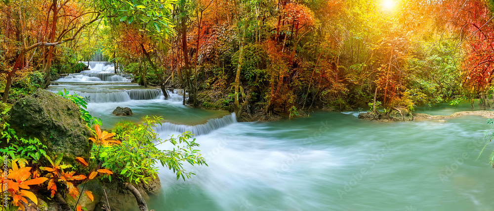 Fototapety, obrazy: Colorful majestic waterfall in national park forest during autumn, panorama - Image