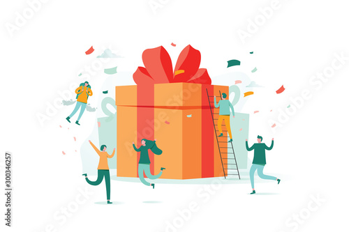 Fotografía online reward , Group of happy people receive a gift box vector illustration con