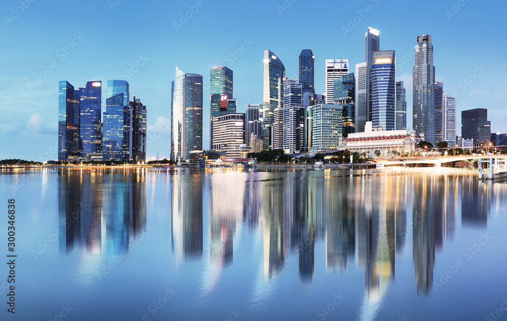 Fototapety, obrazy: Singapore skyline at sunrise - panorama with reflection