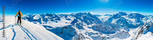 Fotomural Skiing with amazing view of swiss famous mountains in beautiful winter snow  Mt Fort