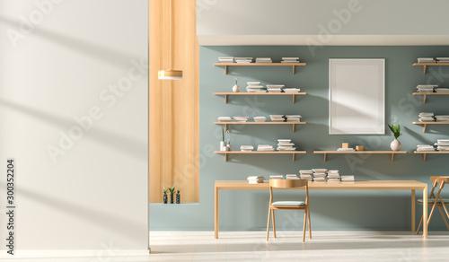 Fotomural  Mock up poster frame in modern style interior with wooden work desk
