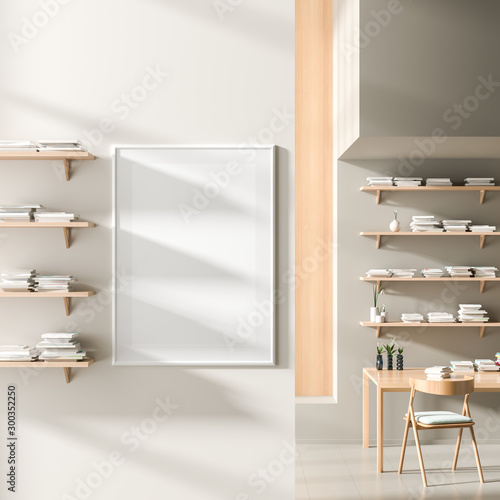 Pinturas sobre lienzo  Mock up poster frame in modern style interior with wooden work desk