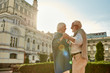 canvas print picture - Beautiful and happy senior couple dancing together outdoors on a sunny day