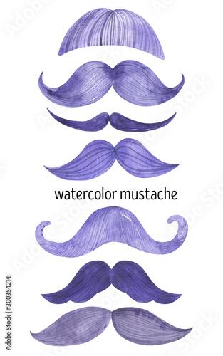 watercolor purple moustache movember gentleman man Wallpaper Mural