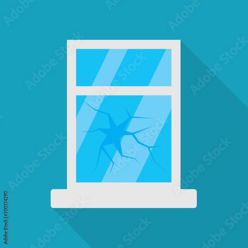 broken window icon- vector illustration