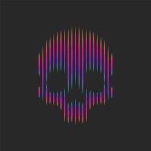 Neon Skull Logo Artwork Striped Pattern T-shirt Print Emblem Or Grange Tattoo Vector Illustration, Gradient Lines Shape