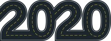 Numbers Of 2020 Year In Shape Road With Yellow Lines Separating Traffic Directions