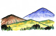 Bright Color Hand Drawn Mountain Landscape. Blue, Brown, Yellow-green Hills, Trees. Watercolor Illustration For Travel, Tourism, Nature Design.