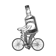 Whiskey Bottle Rides Bicycle Sketch Engraving Vector Illustration. T-shirt Apparel Print Design. Scratch Board Style Imitation. Black And White Hand Drawn Image.