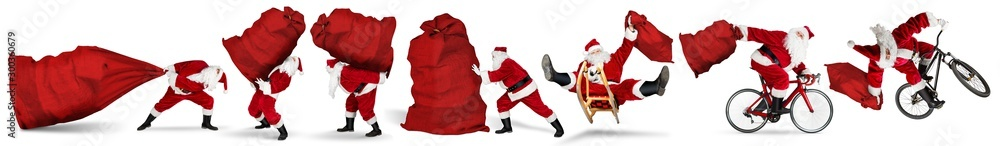 Fototapeta Set collection of crazy red traditional santa claus with bag extreme funny with sleigh bike bicycle jump and huge giant big gift bag isolated  white christmas background