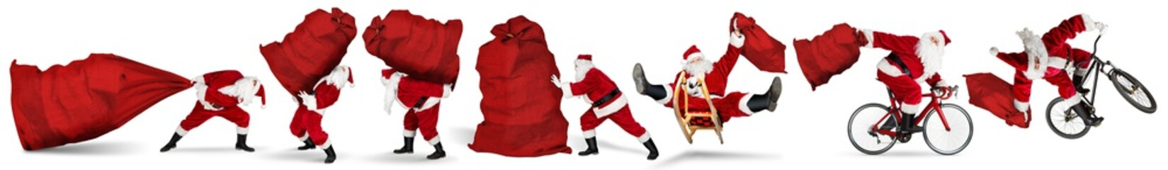Set collection of crazy red traditional santa claus with bag extreme funny with sleigh bike bicycle jump and huge giant big gift bag isolated  white christmas background
