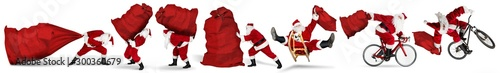 Papiers peints Ecole de Danse Set collection of crazy red traditional santa claus with bag extreme funny with sleigh bike bicycle jump and huge giant big gift bag isolated white christmas background