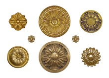 Set Of Golden Decorative Eleme...