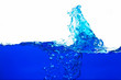 canvas print picture - Close up blue Water splash with bubbles on white background