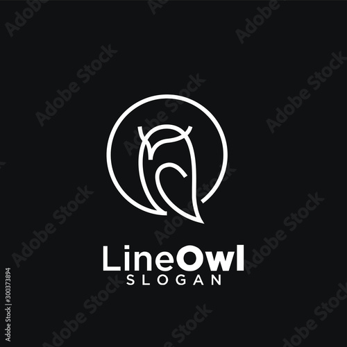 owl line logo icon design vector illustration with black background