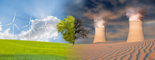 Clean Energy Concept - Renewable Wind Energy Vs Chimneys Of Thermal Power Plant On Desert - Dead Tree On One Side And Living Tree On The Different Side