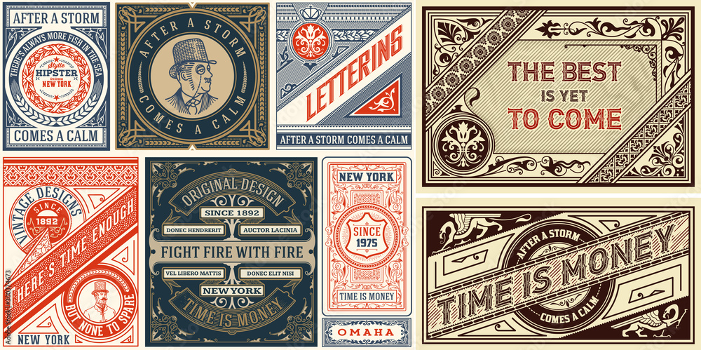 Fototapety, obrazy: Set of 8 Vintage Labels Templates. Vector layered