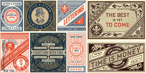 Fototapeta Set of 8 Vintage Labels Templates. Vector layered obraz