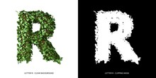 Letter R Uppercase With Tree Shape With Leaves. 3D Illustration.