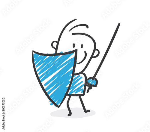 Stickman Blue: Protective Shield, Protection. (Nr. 191) Wallpaper Mural
