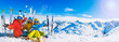 canvas print picture - Happy family enjoying winter vacations in mountains, Val Thorens, 3 Valleys, France. Playing with snow and sun in high mountains. Winter holidays.