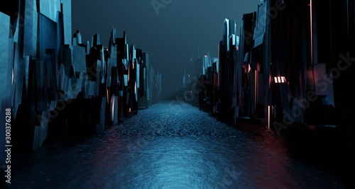 Foto auf Gartenposter Schwarz Sci-fi dark landscape metal block fantastic street house. Surreal alien city concept. 3D rendering