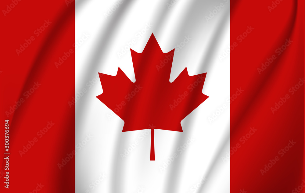 Fototapety, obrazy: Realistic waving flag of the Waving Flag of Canada, high resolution Fabric textured flowing flag,vector EPS10