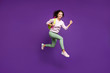 canvas print picture - Full length body size view of nice attractive lovely glad cheerful cheery teenage girl jumping running to highschool isolated on bright vivid shine vibrant purple violet lilac color background