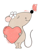 Funny Mouse With A Heart And A Butterfly On His Nose.