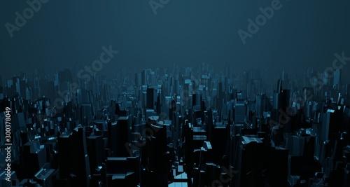 Science fiction nocny krajobraz fantastyczne puste miasto jasnoniebieski neon blask widok z góry Surrealistyczna koncepcja architektury obcych. Renderowanie 3D