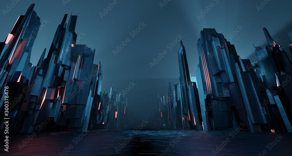 Fototapety, obrazy: Sci-fi dark landscape metal block fantastic street house light by blue neon glow. Surreal alien city concept. 3D rendering