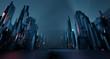 Leinwanddruck Bild - Sci-fi dark landscape metal block fantastic street house light by blue neon glow. Surreal alien city concept. 3D rendering