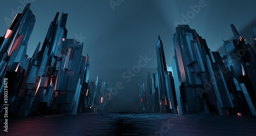 Foto op Canvas Nachtblauw Sci-fi dark landscape metal block fantastic street house light by blue neon glow. Surreal alien city concept. 3D rendering