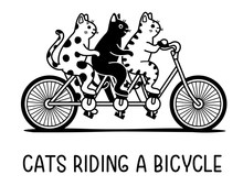 Three Cats Riding A Bicycle, V...