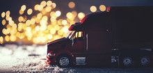 Red Toy Truck On Snow Christma...