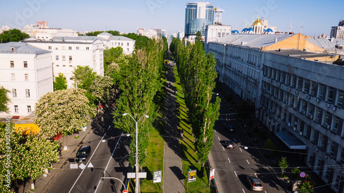 Aerial view of a boulevard shevchenko in  center,kiev,ukraine Canvas Print