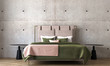 Leinwanddruck Bild Modern bedroom interior design and concrete wall background
