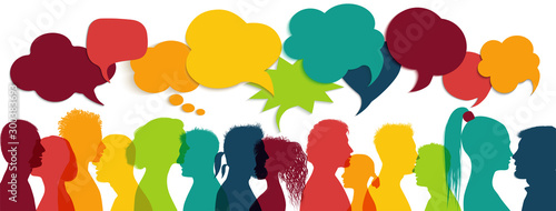 Fototapety, obrazy: Crowd talking. Group of multi-ethnic and multicultural people who speak. Communication between multiracial people. Colored profile silhouette. Communicate social networks. Speaking. Speech bubble