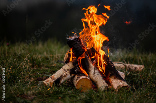 Fotografie, Obraz Burning bonfire in the evening in the Carpathian mountains