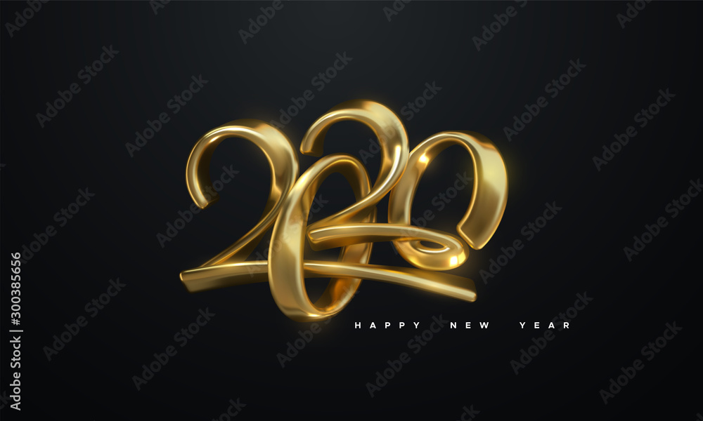 Fototapeta Happy New 2020 Year. Holiday vector illustration of golden metallic calligraphic numbers 2020. Realistic 3d sign. Festive poster or banner design. Modern lettering composition