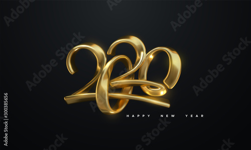 Fototapeta Happy New 2020 Year. Holiday vector illustration of golden metallic calligraphic numbers 2020. Realistic 3d sign. Festive poster or banner design. Modern lettering composition obraz