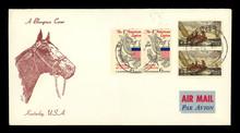 Airmail Luftpost USA Amerika Vintage Retro Pferd Briefmarken Stamps Gestempelt Pferdekopf 1969 Kentucky Beige American Legion Segeln Wilson Homer